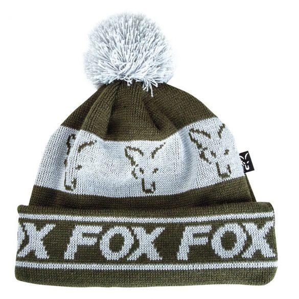 FOX Green&Silver Lined Bobble bojtos téli sapka