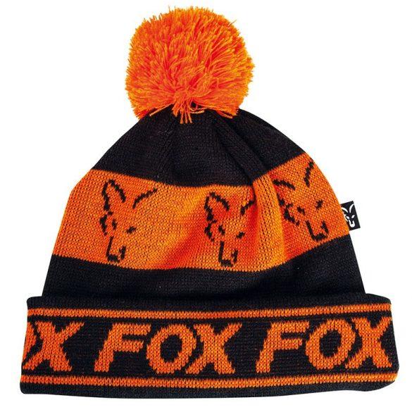 FOX Black&Orange Lined Bobble bojtos téli sapka